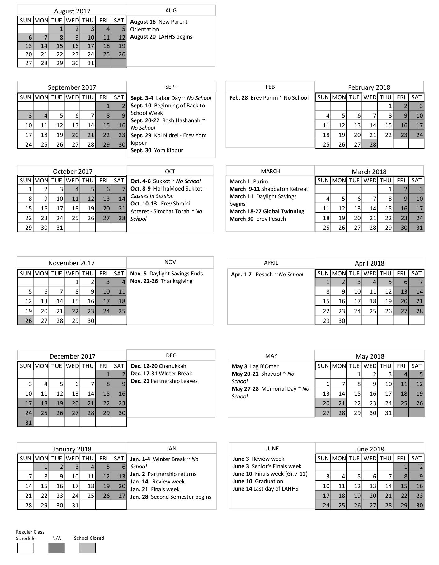 Weekly Calendar Los Angeles : School calendar los angeles hebrew high school